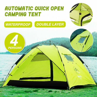 AU58.99 • Buy Waterproof Tent 3-4 Person Man Camping Dome Tent Pop Up Hiking Shelter Beach