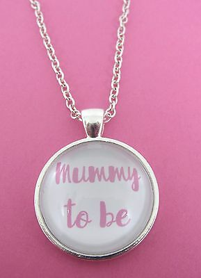£4.99 • Buy Pink Mummy To Be Silver Plated Glass 18  Necklace New In Gift Bag Pregnancy Mum