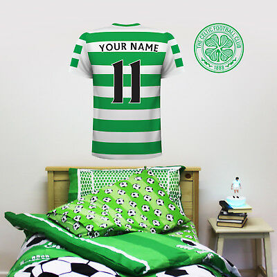 Official Celtic FC Shirt PERSONALISED NAME & NUMBER Football Wall Sticker Mural • 19.99£