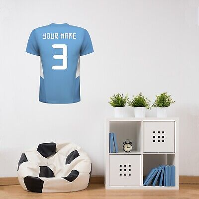 Manchester City FC Shirt 19/20 PERSONALISED NAME & NUMBER Football Wall Sticker • 19.99£