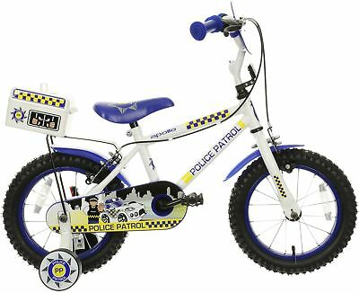 Apollo Police Patrol Kids Bike 14  Wheel Stabilisers Mudguards Childrens Bicycle • 76£