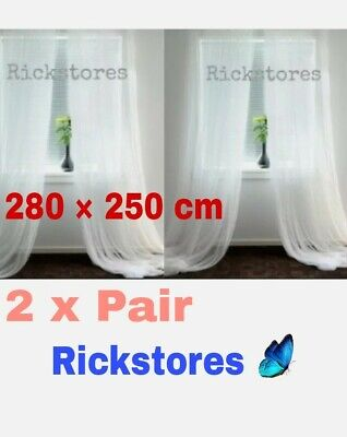 IKEA 2 X Pair LILL, Net Curtains 🔝OFFER Long Sheer Floaty White 280 X 250 Cm • 14.45£