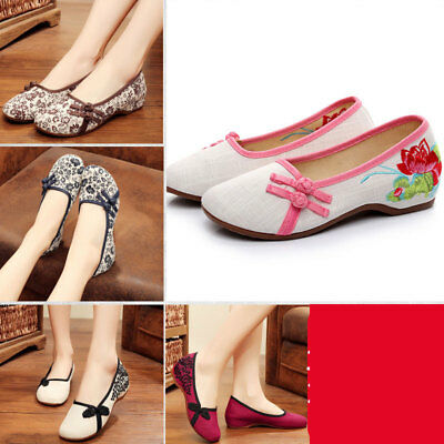 £15.95 • Buy Women Chinese Embroidered Flower Flat Shoes Bridal Mary Jane Ballet Sandals Flat