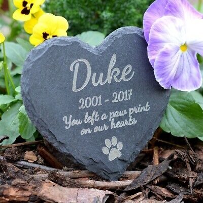 Memorial Plaque For Pet Dog - Personalised Dogs Grave Stone Heart Slate Marker • 7.69£