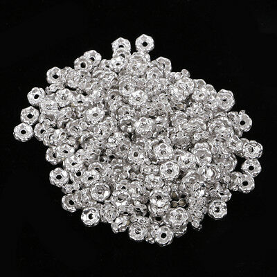 300x Rhinestone Rondelle Spacer Beads Bracelet Necklace Jewelry Findings 6mm • 3.49£