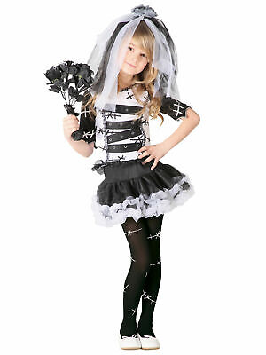 Girls Monster Bride Of Frankenstein Costume Halloween Zombie Corpse Fancy Dress • 8.76£