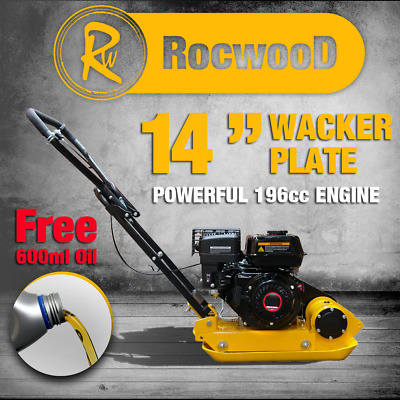 Petrol Wacker Plate Compactor Compaction RocwooD 14  5.5hp 196cc Engine FREE Oil • 345.99£