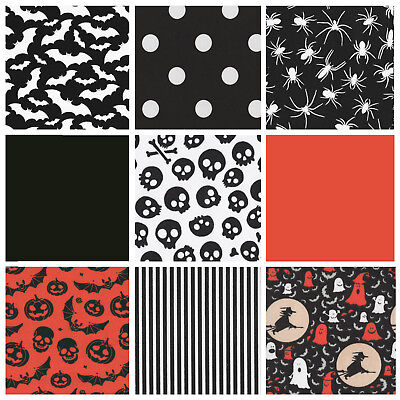 £2.99 • Buy Halloween Fabric By The Metre Bats Spider Pumpkins Stripe Fabric Bunting Display