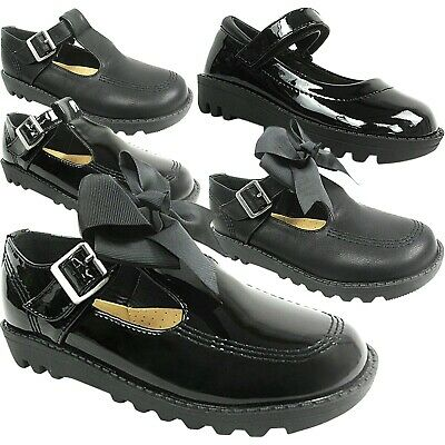 £13.95 • Buy Girls Kids Ladies Flat Low Loafers Dolly School Shoes Size Bow Pumps Work T Bar
