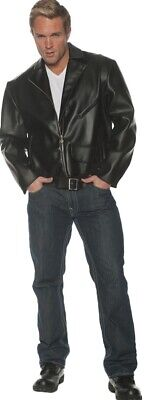 £25.20 • Buy Greaser Adult Men's Black Faux Leather Jacket Grease Danny 50s T-Birds Halloween