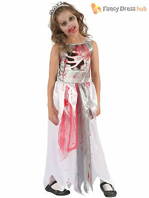 Girls Bloody Zombie Prom Queen Bride Costume Childs Halloween Fancy Dress Outfit • 7.80£