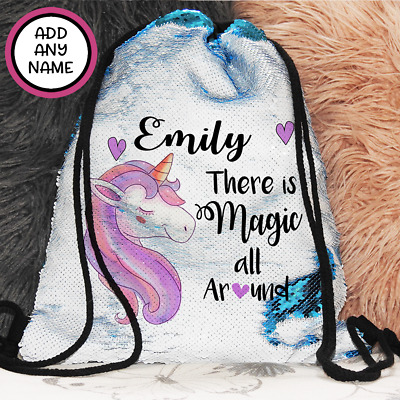 AU27.95 • Buy Personalised Unicorn Magic Sequin Bag Backpack Drawstring Christmas Girls Gift