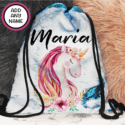 AU27.95 • Buy Personalised Unicorn Magic Sequin Bag Backpack With Drawstring Christmas Gift