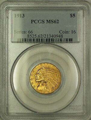 $ CDN1697.41 • Buy 1913 $5 Five Dollar Indian Head Gold Half Eagle PCGS MS-62 (Better Coin)