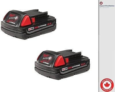 $ CDN106.99 • Buy New Two Milwaukee M18™ REDLITHIUM™ 2.0 Compact Battery Pack (48-11-1822)