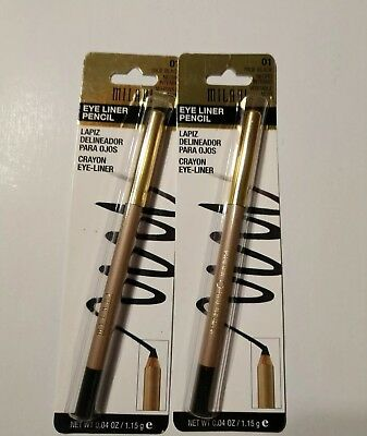 $16.95 • Buy Milani Eye Liner #01 True Black Smooth -glide Application. Made In USA,lot Of 2.