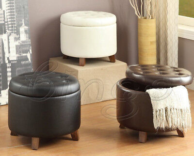 $67.99 • Buy 17  Storage Ottoman Seat Trim PU Large Round Plump Table Tray Home Espresso USA
