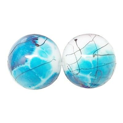 £2.59 • Buy Glass Drawbench Painted Baked Beads Sky Blue I Strand Approx 100 Beads