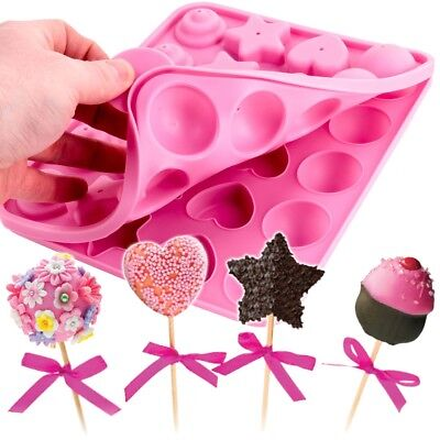 £9.21 • Buy LARGE CAKE POP MOULD Silicone Round Ball Star Heart Cupcake Oven Safe Easy Clean