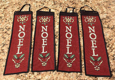 NOEL Christmas Medallion Mini Tapestry Bellpull Door Hanger   • 15.46£