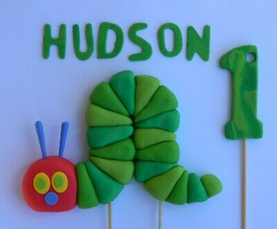 3D Edible HUNGRY CATERPILLAR INSPIRED NAME AGE Cake Topper DECORATIONS Icing • 18£