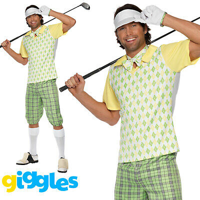 Mens Pub Golf Costume Gone Golfing Golfer Fancy Dress Stag Sport Party Outfit • 27.95£