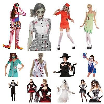 Womens Halloween Scary Fancy Dress Clown Doll Harlequin Vampire Bat Witch Cat  • 13.99£