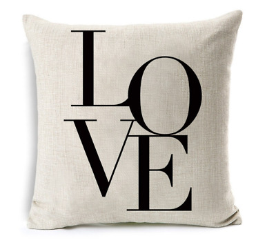 Cushion Cover Pillow Case LOVE Print For Sofa Seat Bed Home Decor Quality Linen • 5.57£