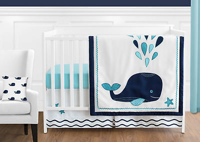 $189.99 • Buy Bumperless White Blue Turquoise Whale Nautical Baby Girl Or Boy Crib Bedding Set