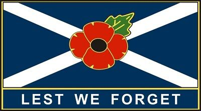 POPPY CAR STICKER WITH SCOTLAND FLAG  LEST WE FORGET  - Saltire, Remembrance • 2.75£