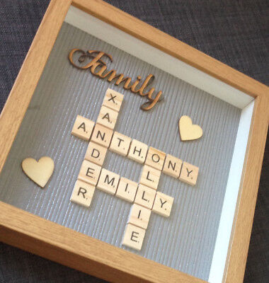 Personalised Family Scrabble Letter Box Frame Picture Mothers Day Present Mum • 20.99£