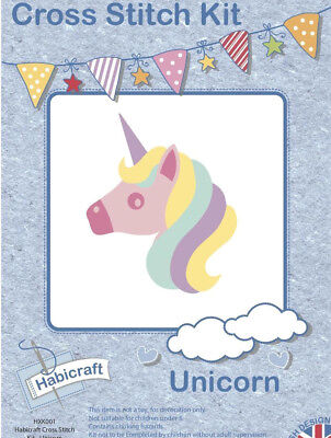 £9.99 • Buy 20cm X 20cm CHILDRENS CROSS STITCH KIT EASY MAKE Your Own UNICORN COMPLETE