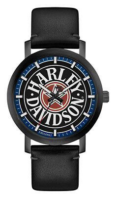 £79.55 • Buy Harley-Davidson Men's Iconic Fat Boy Leather & Stainless Steel Watch 78A120