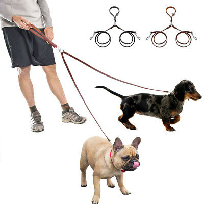 AU24.99 • Buy 2 Way Leather Dog Couple Leash With Handle Double Leads Splitter For Twin 2 Dogs