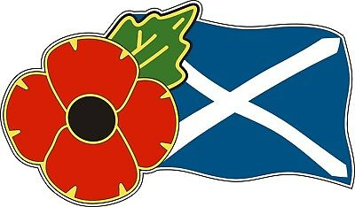 Poppy Car Window Sticker With Scotland Flag  - Saltire Remembrance Sunday • 2.75£