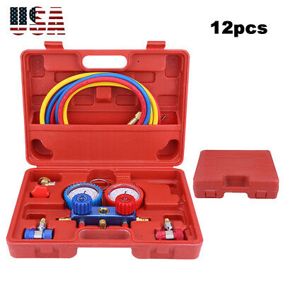 $37.92 • Buy R134a Car A/C Refrigeration Kit Manifold Gauge 5ft Charging Hoses Quick Couplers