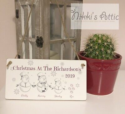 Personalised Family Christmas Plaque,Handmade,Wooden,Gift,Christmas Present • 4.99£