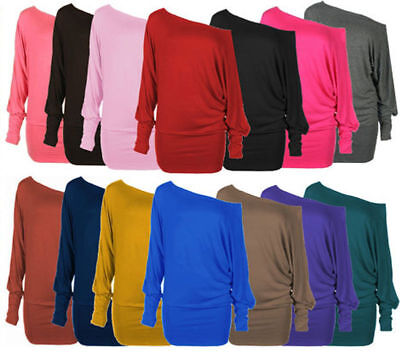 New Womens Shirt Long Sleeves OFF The Shoulder Loose Batwing TOP *Batwing • 7.57£