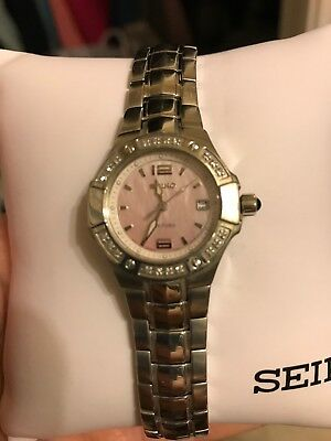 $ CDN222.02 • Buy Seiko Watch Womens Diamond Mother Of Pearl Face