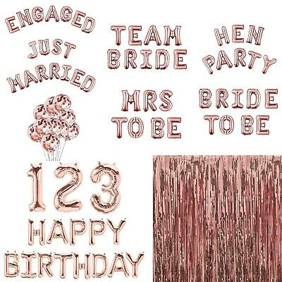 £3.79 • Buy Rose Gold Happy Birthday Bunting Banner Balloons Number Hen Party Decor Confetti