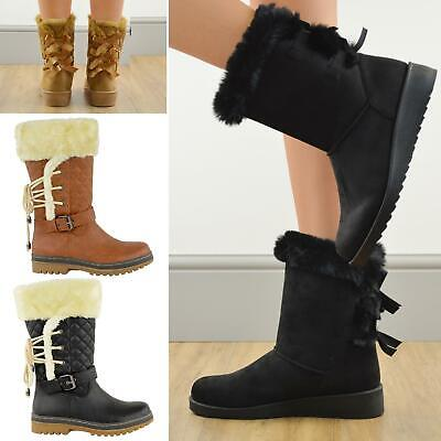 Womens Winter Flat Grip Sole Ankle Boots Faux Fur Hiker Calf Knee High Size • 22.99£