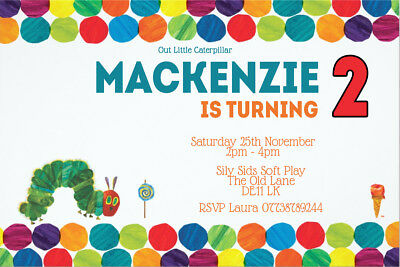 Personalised The  Hungry Caterpillar  Birthday Party Invites Inc Envelopes HC1 • 0.99£