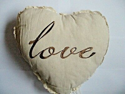£5.70 • Buy Love Heart Shaped Filled Cushion.Crochet Work, Linen & Brown Embroidery 36/30cm