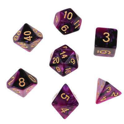 AU7.59 • Buy 7Pcs Polyhedral Dice Die D20 D12 D10 D8 D6 D4 For DND RPG MTG - Purple Black
