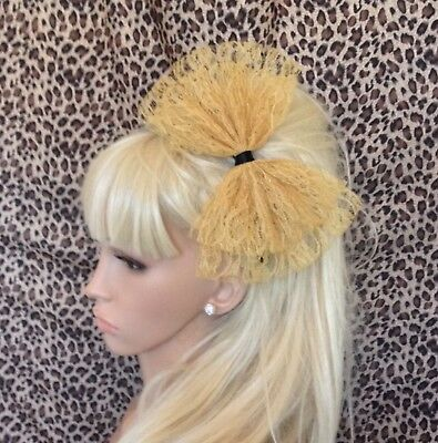 £3.99 • Buy NEW BIG GOLD LACE BOW ALICE HAIR HEAD BAND 80s RETRO PARTY FANCY DRESS ALICEBAND