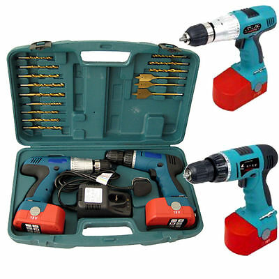 View Details HEAVY DUTY 2X 18V CORDLESS HAMMER DRILL DRIVER SCREWDRIVER & 2 BATTERIES IN CASE • 59.95£