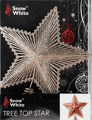Large Glitter Rose Gold Star Christmas Tree Top Topper Decoration • 9.99£