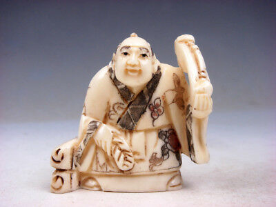 £94.15 • Buy Japanese Highly Detailed Hand Crafted Netsuke Man Holds Ru-Yi Scroll #10251808
