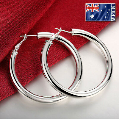 AU6.95 • Buy NEW 925 Sterling Silver Filled Women's Elegant Round Hoop Earrings Stunning Gift