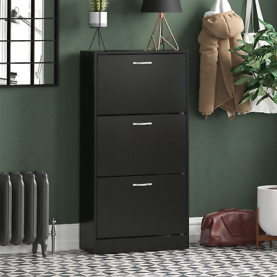 3 Drawer Shoe Cabinet Storage Cupboard Footwear Stand Rack Wooden Unit Black New • 41.95£